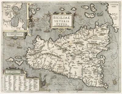 Карта Сицилии. Siciliae Veteris Typus. Составил Абрахам Ортелий для Theatrum Orbis Terrarum Abrahami Ortelii. Антверпен, 1612