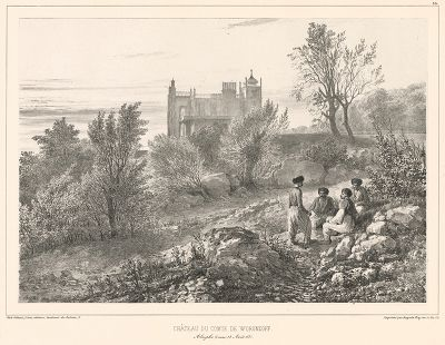 Вид на дворец графа Воронцова в Алупке 12 августа 1837 года (из Voyage dans la Russie Méridionale et la Crimée... Париж. 1848 год (лист 33))