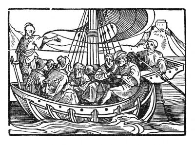 Отплытие в Константинополь. Иллюстрация Йорга Бреу Старшего к описанию путешествия на восток Лодовико ди Вартема: Ludovico Vartoman / Die Ritterliche Reise. Издал Johann Miller, Аугсбург, 1515