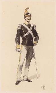 """Итальянский красавчик, офицер-кавалерист в 1890-е годы. """"Иллюстрированная история верховой езды"""", Париж, 1891"""