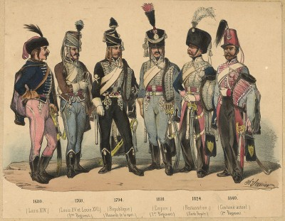 Униформа французских гусар с 1680 по 1840 гг. Costumes de l'armée française depuis Louis XIV, jusqu'à nos jours. Париж, 1841