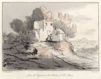 Пейзаж с домом на холме. Гравюра с рисунка знаменитого английского пейзажиста Томаса Гейнсборо из коллекции  британского мецената Т. Монро. A Collection of Prints ...of Tho. Gainsborough, Лондон, 1819.