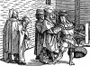Заключение под стражу. Иллюстрация Йорга Бреу Старшего к описанию путешествия на восток Лодовико ди Вартема: Ludovico Vartoman / Die Ritterliche Reise. Издал Johann Miller, Аугсбург, 1515