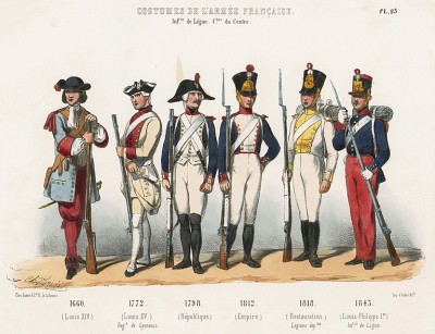 Униформа французской линейной пехоты с 1660 по 1843 гг. Costumes de l'armée française depuis Louis XIV, jusqu'à nos jours, л.25. Париж, 1841