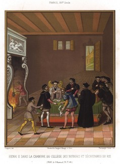 Король Франциии Генрих II (1519-1559) обсуждает государственные вопросы в зале Коллегии (из Les arts somptuaires... Париж. 1858 год)