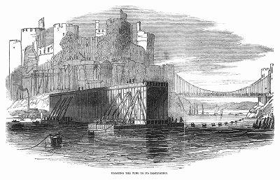 Сплавление металлической тубы, изготовленной для железнодорожного моста через реку Конвей в Уэльсе, построенного в 1848 году британским инженером Робертом Стивенсоном (1803 -- 1859) (The Illustrated London News №307 от 11/03/1848 г.)