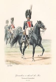 Лейтенант гвардейских конных гренадеров короля Франции в полевой форме образца 1815 года. Histoire de la Maison Militaire du Roi de 1814 a 1830. Экз. №93 из 100, изготовлен для H.Fontaine. Париж, 1890 Том II. л.70)
