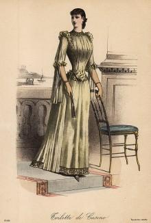 Элегантное оливковое платье для казино с греческими мотивами. Из французского модного журнала Le Coquet, выпуск 256, 1889 год