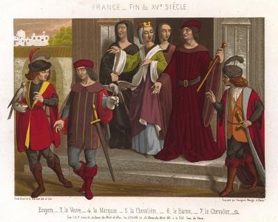 Французская знать XV века: вдова, маркиза, барон, рыцарь и его дама, оруженосцы (из Les arts somptuaires... Париж. 1858 год)