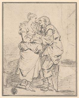 Девушка и старуха. Рисунок Жана-Батиста Грёза из собрания библиотеки Императорской Академии художеств.