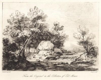 Пейзаж с камнями. Гравюра с рисунка знаменитого английского пейзажиста Томаса Гейнсборо из коллекции британского мецената Т. Монро. A Collection of Prints ...of Tho. Gainsborough, Лондон, 1819.