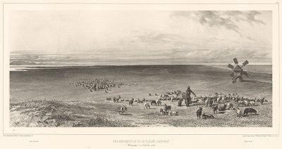 Арабатская стрелка 12 октября 1837 года (слева - озеро Сиваш, справа - Азовское море) (из Voyage dans la Russie Méridionale et la Crimée... Париж. 1848 год (лист 74))