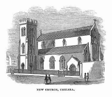 Приходская церковь Сент-Джуд в историческом районе Лондона Челси, построенная в 1843 году в раннеанглийском стиле британским архитектором Джорджем Басеви (1794 -- 1845 гг.) (The Illustrated London News №106 от 11/05/1844 г.)