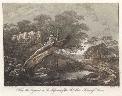 Пейзаж с пашущим крестьянином и коровами. Гравюра с рисунка знаменитого английского пейзажиста Томаса Гейнсборо из коллекции баронессы Лукас. A Collection of Prints ...of Tho. Gainsborough, Лондон, 1819.