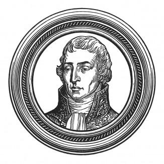 """Жозеф Фуше (1759-1820) — депутат Конвента, посол в Швейцарии, сенатор, герцог Отрантский и трижды министр наполеоновской полиции. Оставил своим сыновьям 14 миллионов франков. Илл. к пьесе С.Гитри """"Наполеон"""", Париж, 1955"""