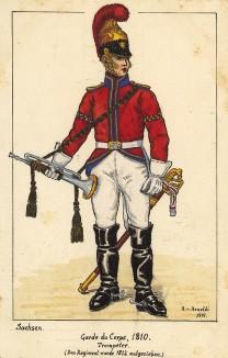 1810 г. Трубач конной гвардии короля Саксонии. Коллекция Роберта фон Арнольди. Германия, 1911-29