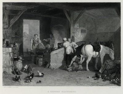 """Сельский кузнец (лист из альбома """"Галерея Тёрнера"""", изданного в Нью-Йорке в 1875 году)"""