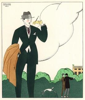 В парке. Эту рекламную иллюстрацию для неизвестного французского дома моды выполнил художник эпохи ар-деко Эдуар Алуз. Les Feuillets d'Art. Париж, 1920