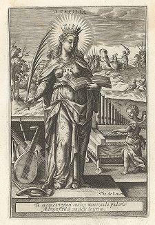 """Святая Кикилия Римская. Лист к серии гравюр """"Мартиролог святых дев"""" (Martyrologium Sanctarum Virginum), Париж, ок. 1600 г."""