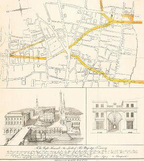 План реконструкции лондонских улиц от Нового Лондонского моста к Корнхиллу и Грейсчерч-стрит по проекту Питера Джеффри от 1827 года.