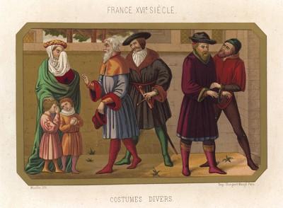 Француз в гупелянде заговаривает со знатной француженкой с детьми, одетой в нормандском стиле (из Les arts somptuaires... Париж. 1858 год)