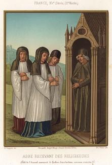 Средневековый аббат принимает иноков в своей келье, оформленной в готическом стиле (из Les arts somptuaires... Париж. 1858 год)