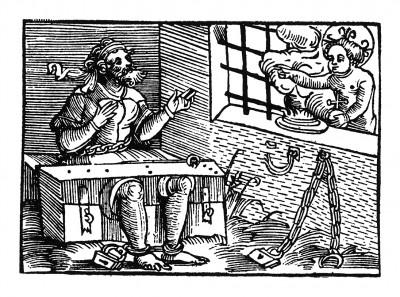 """Христофор в тюрьме. Из """"Жития Святого Христофора"""" (S. Christops Geburt und Leben) неизвестного немецкого мастера. Издал Johann Weyssenburger, Ландсхут, 1520."""