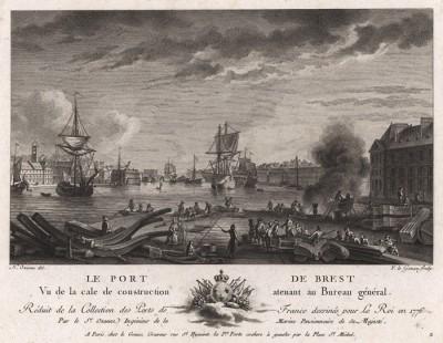 Строительство арсенала в порту французского Бреста (лист 2 из альбома гравюр Nouvelles vues perspectives des ports de France..., изданного в Париже в 1791 году)