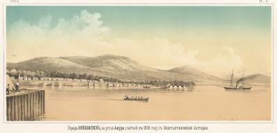 Город Николаевск в устье Амура, снятый в 1858 году с Константиновской батареи. Русский художественный листок, №9, 1859