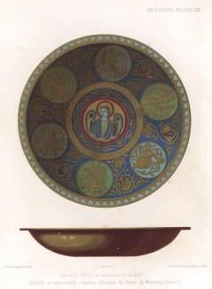 Покрытый эмалью медный таз и блюдо с изображением святого -- предметы религиозного культа, хранящиеся во дворце Мейнберг (Бавария) (из Les arts somptuaires... Париж. 1858 год)