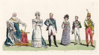 Последний реально царствовавший король Франции Людовик XVIII (1755--1824), дочь казнённого Людовика XVI Мария Тереза Шарлотта Французская (1778--1851 (герцогиня Ангулемская)) и король Карл X (1757--1836 (граф Артуа))