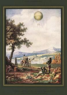 1793 г. Французский военный воздушный шар при осаде Майнца. С акварели Н.Ж.Контэ - механика и живописца. Оригинал хранится в Музее аэронавтики в Тулузе. L'аéronautique d'aujourd'hui. Париж, 1938