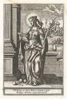 """Святая Доротея Кесарийская. Лист к серии гравюр """"Мартиролог святых дев"""" (Martyrologium Sanctarum Virginum), Париж, ок. 1600 г."""
