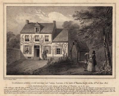 Дом при въезде в Ватерлоо, где герцог Веллингтон провёл ночь перед битвой (литография с рисунка, выполненного под руководством генерала Анри Жомини во время прогулки по Ватерлоо 1 сентября 1842 года. Брюссель. 1846 год)