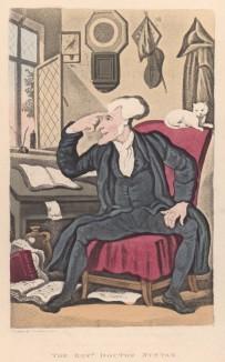"""Доктор Синтакс замышляет путешествие. Титульный лист поэмы Вильяма Комби """"Путешествие доктора Синтакса в поисках живописного"""". Илл. Томаса Роуландсона. Лондон, 1881"""