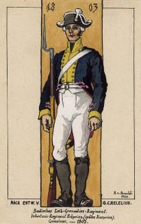 1803 г. Рядовой лейб-гренадерского полка Великого герцогства Баден на посту. Коллекция Роберта фон Арнольди. Германия, 1911-29
