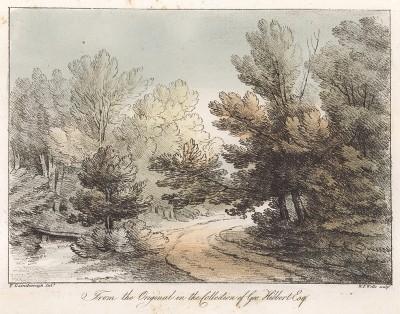 Лесная дорожка. Гравюра с рисунка знаменитого английского пейзажиста Томаса Гейнсборо из коллекции Дж. Хибберта. A Collection of Prints ...of Tho. Gainsborough, Лондон, 1819.