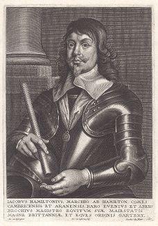 Джеймс Гамильтон (1606--1649) - 1-й герцог Гамильтон, шотландский государственный деятель периода Английской революции, сторонник короля Карла I. Казнён по решению английского парламента.
