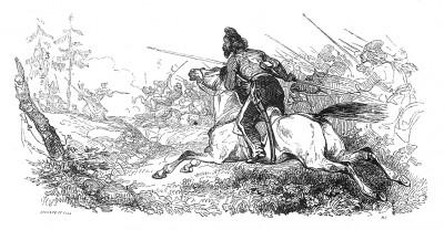 Австрийская кампания 1805 г. 16 ноября 1805 г. казаки разбивают аванпост маршала Мюрата, и русские войска входят в Вишау. Histoire de l'empereur Napoléon. Париж, 1840