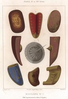 Средневековые французские щиты для пешего боя: норманнский щит, тарч, павеза, рондаш и кулачный щит (из Les arts somptuaires... Париж. 1858 год)