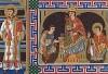Император Священной Римской империи Оттон II в окружении священников. Миниатюра из манускрипта 989 года (из Les arts somptuaires... Париж. 1858 год)