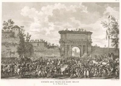 Взятие Милана французами 15 мая 1796 г. Tableaux historiques des campagnes d'Italie depuis l'аn IV jusqu'á la bataille de Marengo. Париж, 1807