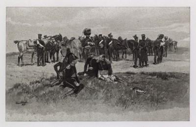 """Гвардейские конные егеря на привале (1809) (иллюстрация к известной работе """"Кавалерия Наполеона"""", изданной в Париже в 1895 году)"""
