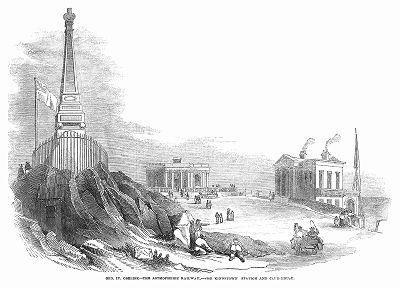 Обелиск, возведённый в честь короля Великобритании Георга IV (1762 -- 1830 гг.) посещавшего эти места на станции пневматической железной дороги в ирландском городе Кингстаун, открытой в 1844 году (The Illustrated London News №88 от 06/01/1844 г.)