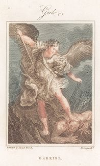 Архангел Михаил, попирающий поверженного сатану. Гравюра с живописного оригинала Гвидо Рени.