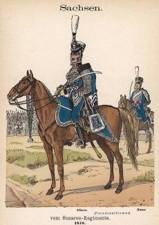 Саксонские гусары в униформе образца 1810 г. Uniformenkunde Рихарда Кнотеля, л.46. Ратенау (Германия), 1890