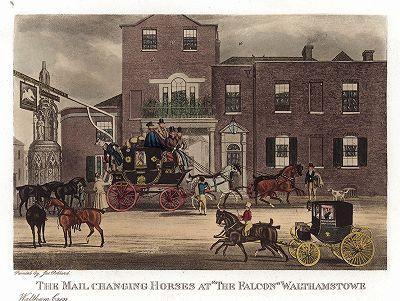 Смена лошадей на почтовой станции «Фалкон» в Уолтэмстоу. Репринт 1927 года с акватинты 1830-х годов.