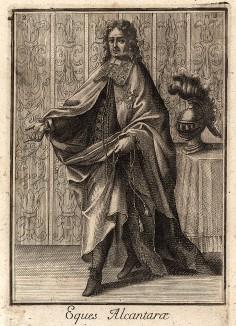 """Рыцарь ордена Алькантара, основанного в 1156 г. под именем """"Рыцари ордена Святого Иоанна Перейрского"""". С 1494 г. его главой является испанский монарх. Филиппо Бонанни, Catalogo degli ordini equestri, e militari… Рим, 1741"""