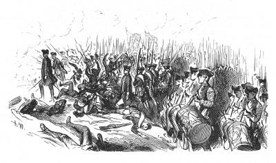 Семилетняя война 1756-1763 гг. Атака прусской пехоты в сражении при Колине 18 июня 1757 года, где Фридрих Великий потерпел свое первое поражение. Илл. А.Менцеля к Geschichte Friedrichs des Grossen von F.Kugler. Лейпциг, 1842, с.324