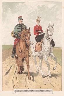"""Драгун и дама на конной прогулке (из """"Иллюстрированной истории верховой езды"""", изданной в Париже в 1891 году)"""